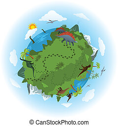 Around the world of dinosaurs - Vector illustration - around...