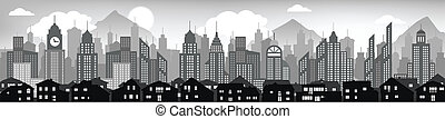 Cityscape background black and white - Vector illustration...
