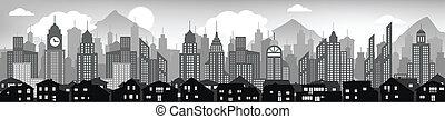 Cityscape background (black & white - Vector illustration of...