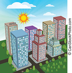 City in perspective - Vector illustration of City in...