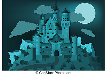 Fairytale castle in the night