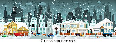 City life (Winter) - Vector illustration of winter city life...