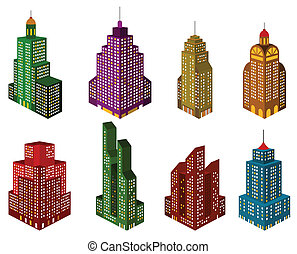 Skyscrapers in perspective (colors) - Vector illustration of...