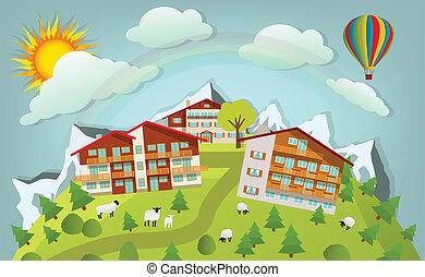 Mountain Landscape - Vector illustration of mountain...