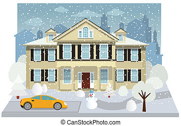 Family house in winter - Vector illustration of family house...