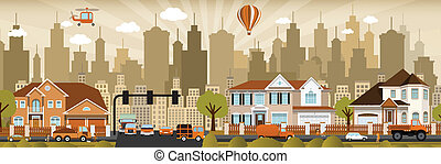 City life - Vector illustration of city in retro colors...