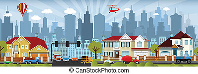 City life - Vector illustration of colorful city family...