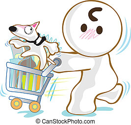 Basket Cart Dog Bull Terrier - He go to Super Market to...