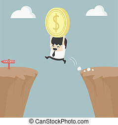 Businessman holding money jumping over the cliff