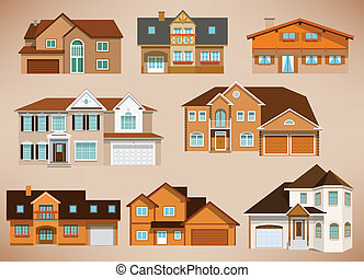 City houses (retro colors) - Vector illustration of city...