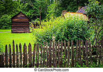 The Mountain Farm Museum in the Oconaluftee Valley, in Great...