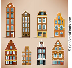 8 Holland houses - Vector illustration of classic holland...