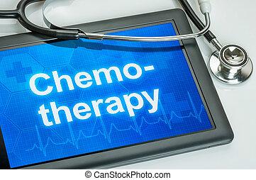 tableta, texto, quimioterapia, exhibición
