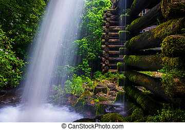 Waterfall at Mingus Mill,  Great Smoky Mountains National Park,