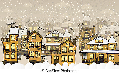 City in the winter days