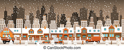 City in winter Christmas - Vector illustration of city in...
