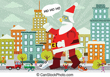 Giant Santa Claus is attacking the