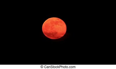 Orange moon rise Full moon time Lapse
