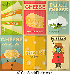 Cheese posters in Retro Style. Vector Illustration.