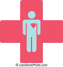 medical cross with a man vector illustration