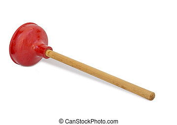 Plunger isolated on white - Red rubber plunger with wooden...