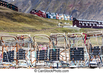 Beautiful scenic view of Longyearbyen (Svalbard island),...