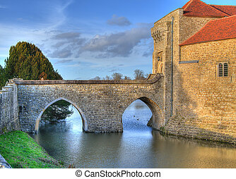 Castle bridge HDR - Leeds castle bridge and entrance in Kent...