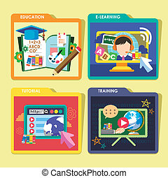 education concepts icons set in flat design - flat design...