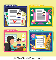 HR recruitment process icons set in flat design - flat...
