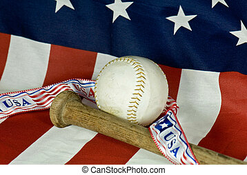 American Game - Bat and ball on an American flag.
