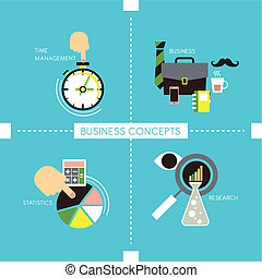 business concepts in flat style - flat style of time...