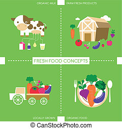 flat design icons for organic food and drink - set of flat...