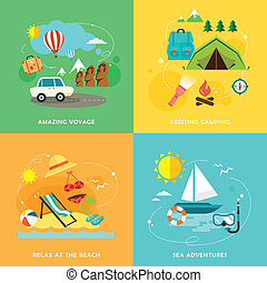 summer travel icons set in flat design - flat design icons...