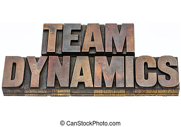 team dynamics in wood type - team dynamics - isolated text...