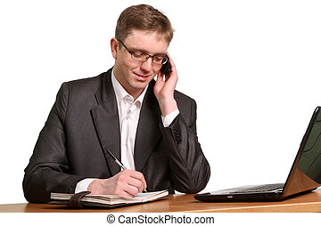 business man making a phone call - Young handsome business...
