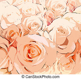 Floral background with stylized roses in beige and orange colors