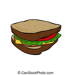 Sandwich - Vector illustration : Sandwich on a white...