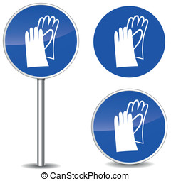 Vector safety gloves sign