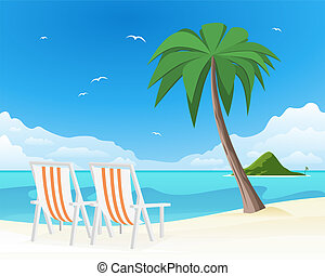 Two beach chairs on tropical white sand