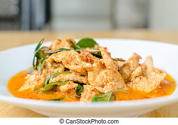 Red savory curry paste with pork and coconut milk Panaeng