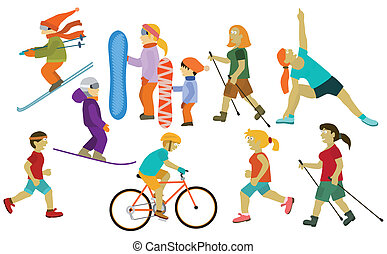 People (various sport activities) - Vector illustration of...