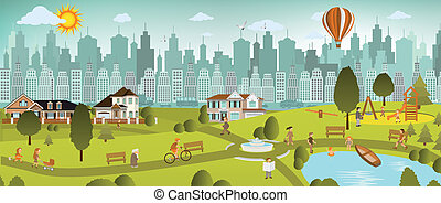 Weekend in the city - Vector illustration of weekend in the...