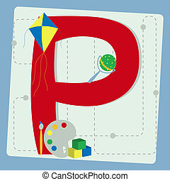 "Letter ""p"" from stylized alphabet"