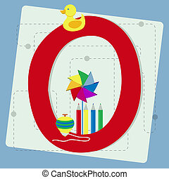 "Letter ""o"" from stylized alphabet with children's: rubber..."