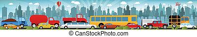 Traffic jam in the city - Vector illustration of fraffic jam...