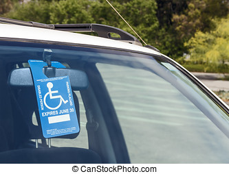 Disabled person parking blue and white permit placard -...