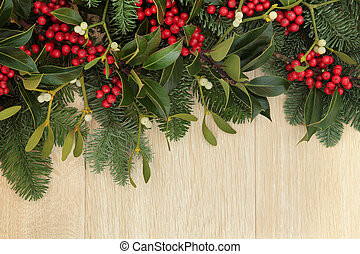 Holly and Mistletoe Border - Holly, mistletoe and fir...