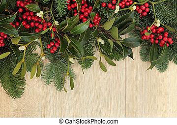 Holly and Mistletoe Border - Holly, mistletoe and fir...