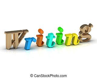 Écriture, 3D, inscription, clair, volume, lettre