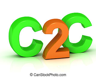 C2C 3d inscription bright volume letter on white background